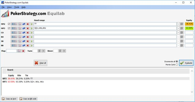 Equity calculaton in Equilab